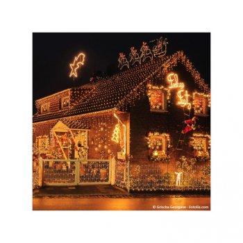 Vánoční LED osvětlení 60 m - teple bílá 600 LED - zelený kabel