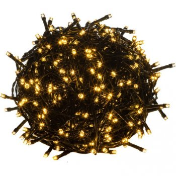Vánoční LED osvětlení - 10 m,100 LED,teple bílé,zelený kabel