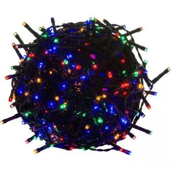 Vánoční LED osvětlení 10 m - barevné 100 LED - zelený kabel