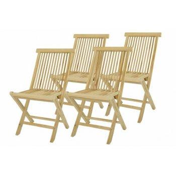 Skládací židle z týkového dřeva DIVERO, 4 kusy D33137