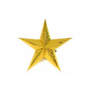 Vánoční dekorace - hvězda s časovačem - 45 cm ZLATÁ