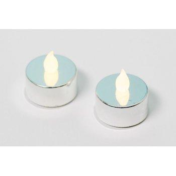 Dekorativní sada - 2 čajové svíčky - stříbrná