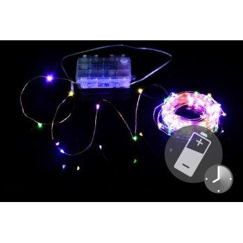 LED osvětlení - měděný drát, 100 LED, barevné