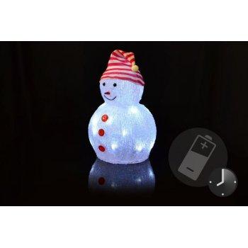 Vánoční dekorace - Akrylový sněhulák - studeně bílá D05942