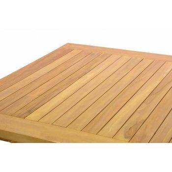 DIVERO dřevěný zahradní stůl, týkové dřevo, 80 x 80 cm