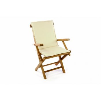 Skládací zahradní židle DIVERO vč. polstrování - krémová D47245
