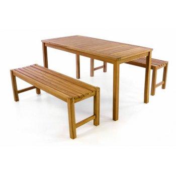 Zahradní set lavice a stůl z týkového dřeva DIVERO
