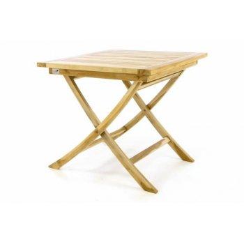 Skládací zahradní stolek DIVERO - týkové dřevo neošetřené - 80 cm