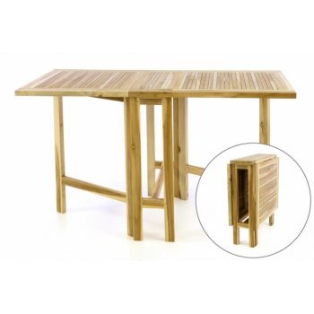 Týkový zahradní stůl DIVERO - skládací - 130 x 65 cm D47381