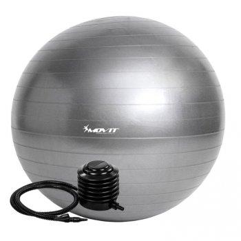 Gymnastický míč MOVIT s pumpou - 75 cm - stříbrný