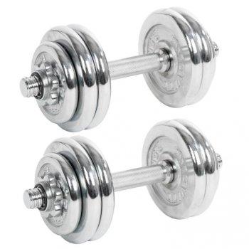 Set jednoručních chromovaných činek MOVIT 2 x 15 kg