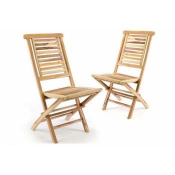 Sada 2 ks  zahradní židle skládací DIVERO Hantown z masivního týkového dřeva