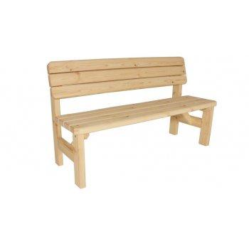 Zahradní dřevěná lavice s opěradlem II - bez povrchové úpravy - 150 cm
