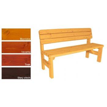 Zahradní dřevěná lavice s opěradlem II - s povrchovou úpravou - 150 cm