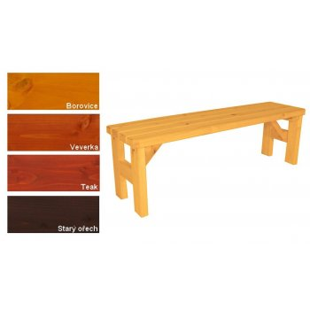 Zahradní dřevěná lavice bez opěradla II. - s povrchovou úpravou - 150 cm