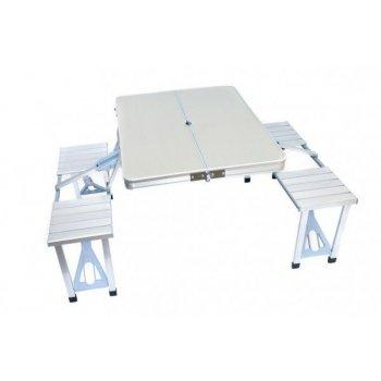 sedací kempinková sestava - stůl a dvě lavice z hliníku