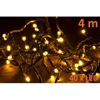 Vánoční LED osvětlení 4m - teple bílá, 40 diod