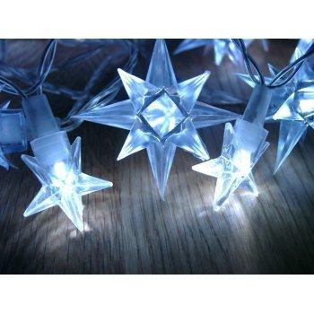 Vánoční LED osvětlení - modré hvězdy, 4 m
