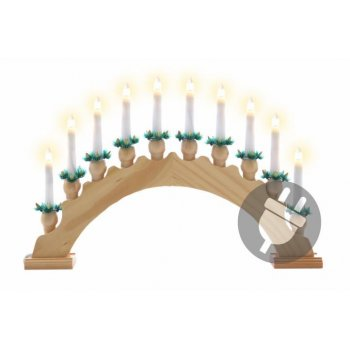Vánoční dekorace - svícen s 10ti LED diodami