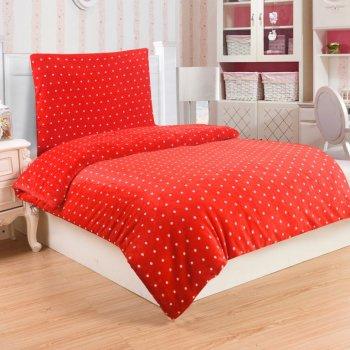 Mikroplyšové ložní prádlo POLKA RED