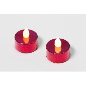 Dekorativní sada - 2 čajové svíčky - červená