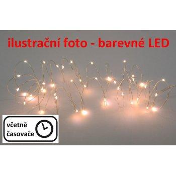 LED osvětlení - stříbrný drát - 20 LED teple bílá
