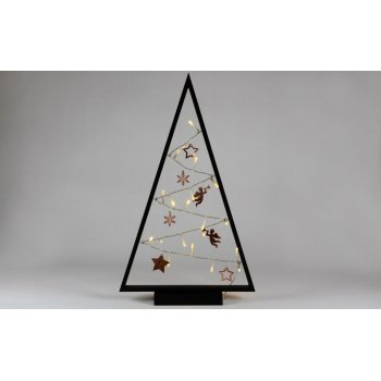 Světelná dekorace černá - Vánoce - 20 LED teple bílá