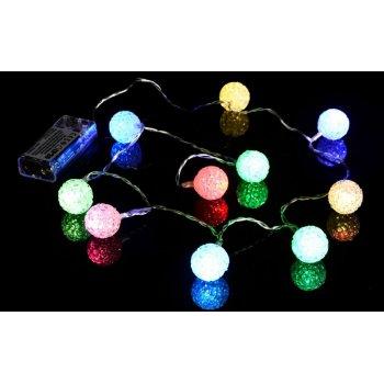 Vánoční dekorativní řetěz - světelné koule - 10 LED barevné