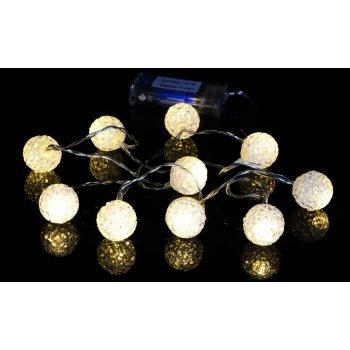 Vánoční dekorativní řetěz - světelné koule - 10 LED teple bílá