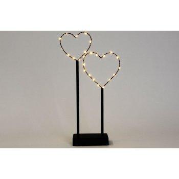 Vánoční LED dekorace - kovové srdce - 25 LED černá