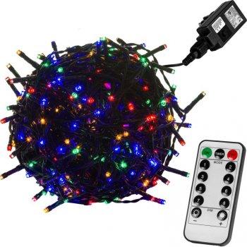 Vánoční LED osvětlení 10 m - barevná 100 LED + ovladač - zelený kabel