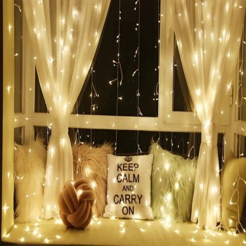 Vánoční světelný závěs - 3x3 m, 300 LED, teple bílý