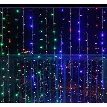Vánoční světelný závěs - 3x6 m, 600 LED, barevný