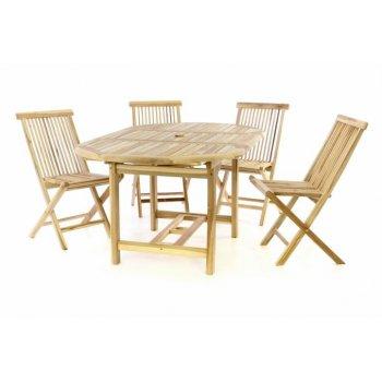 Zahradní set DIVERO z teakového dřeva - stůl + 4 skládací židle