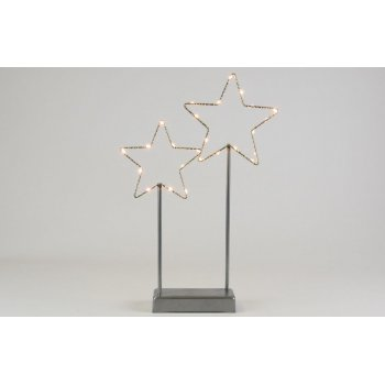 Vánoční LED dekorace - kovové hvězdy- 25 LED šedá
