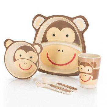 5 dílná sada dětského nádobí z bambusu - opička