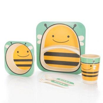 5 dílná sada dětského nádobí z bambusu - včelka
