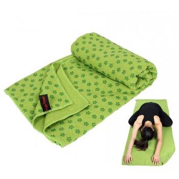 Protiskluzový ručník na jógu - 183 x 61 cm, zelený