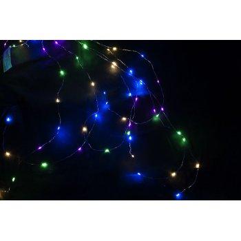Vánoční dekorativní osvětlení – drátky - 48 LED barevné