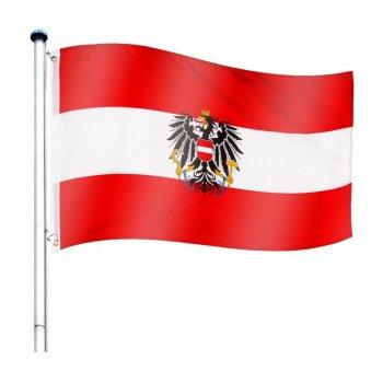 Vlajkový stožár vč. vlajky Rakousko - 6,50 m