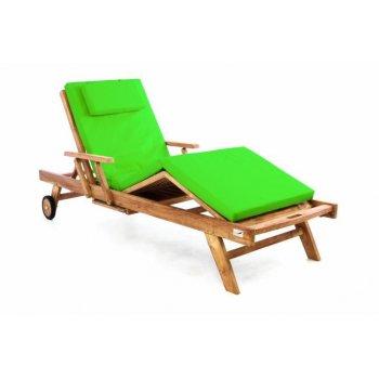 Zahradní dřevěné lehátko DIVERO z teakového dřeva s podložkou - světle zelená