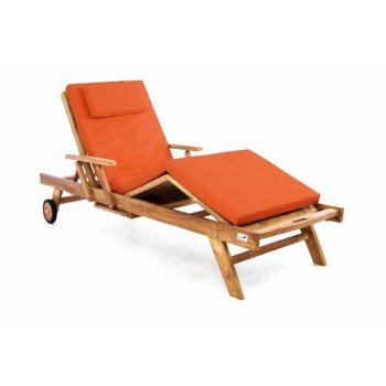Zahradní dřevěné lehátko DIVERO z teakového dřeva s podložkou -  oranžová
