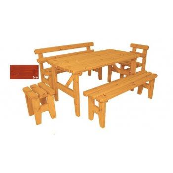Zahradní dřevěný set z masivu Eduard - s povrchovou úpravou - 160 cm - TEAK
