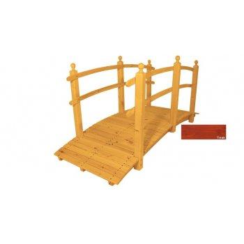 Zahradní dřevěný most s povrchovou úpravou - 248 cm - TEAK