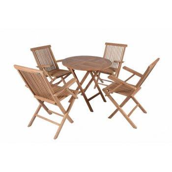 DIVERO zahradní skládací nábytek z týkového dřeva Garth