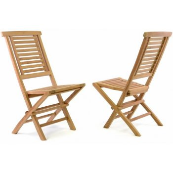 Sada 2 ks Skládací zahradní židle DIVERO Hantown - týkové dřevo