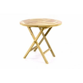 DIVERO zahradní stůl z teakového dřeva - Ø 80 cm