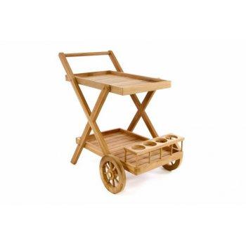 Servírovací vozík DIVERO z teakového dřeva
