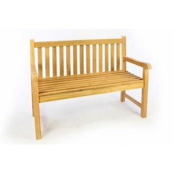 Zahradní dřevěná lavice DIVERO - neošetřené týkové dřevo - 120 cm