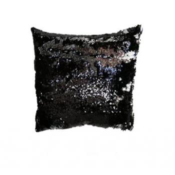 Povlak na polštář s flitry MAGIC 40 x 40 cm - černá / lesklá stříbrná